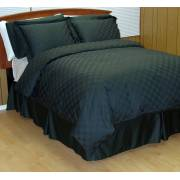 300TC Black Checkered Down Alternative Bed in a Bag – 8PC – King