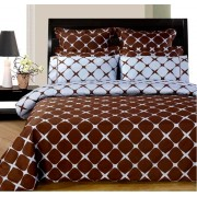 Bloomingdale Reversible Chocolate/Blue Duvet Cover & Sheets - Cal. King