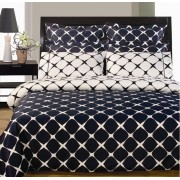Bloomingdale Reversible Navy Blue/White Duvet Cover & Sheets - Full